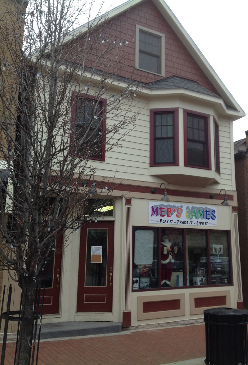 Meb's Games in Lancaster showing facade renovation