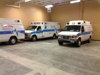 Here is an interior garage view of renovations at Twin City Ambulance